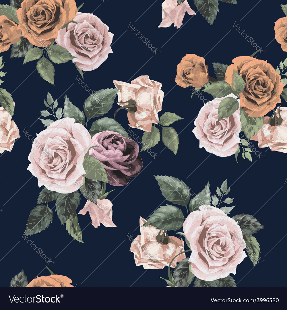 Seamless floral pattern with roses on dark vector | Price: 1 Credit (USD $1)