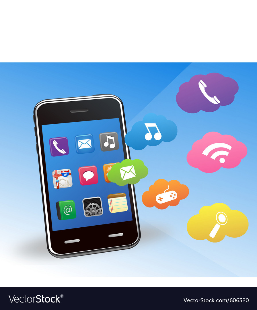 Smart phone and applications vector | Price: 1 Credit (USD $1)