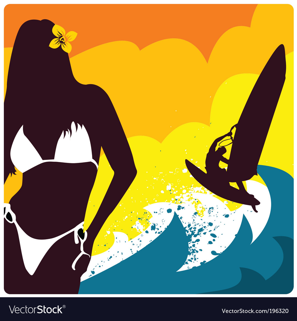Surf and girl vector | Price: 1 Credit (USD $1)