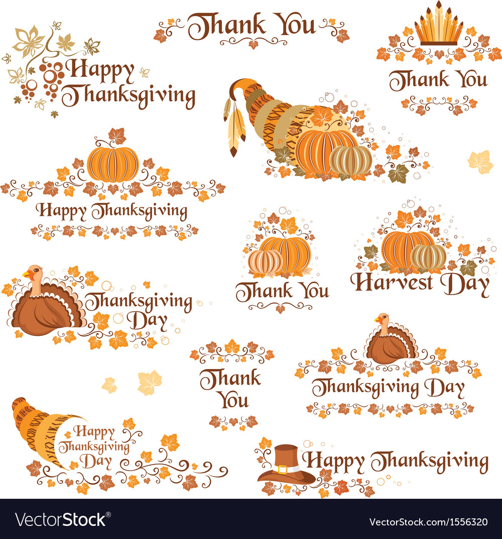 Tanksgiving day decorative elements vector | Price: 1 Credit (USD $1)