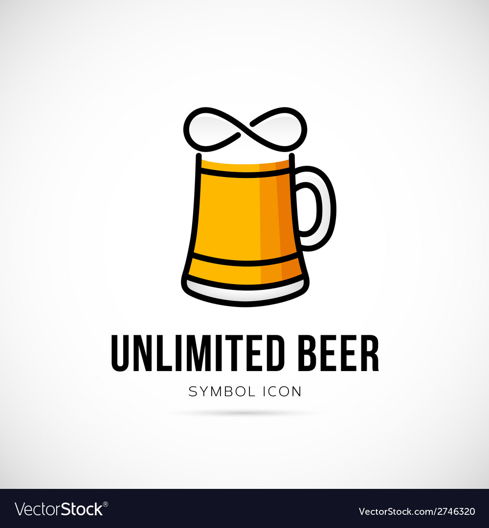 Unlimited beer concept symbol icon or logo vector | Price: 1 Credit (USD $1)