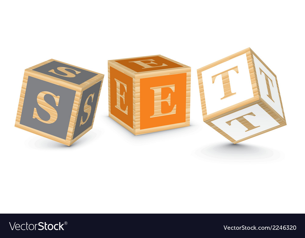 Word set written with alphabet blocks vector | Price: 1 Credit (USD $1)