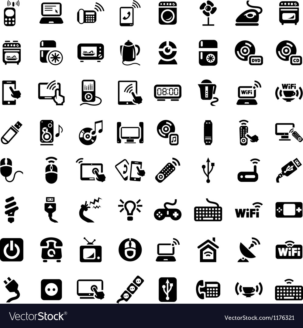 Big electronic devices icons set vector | Price: 1 Credit (USD $1)