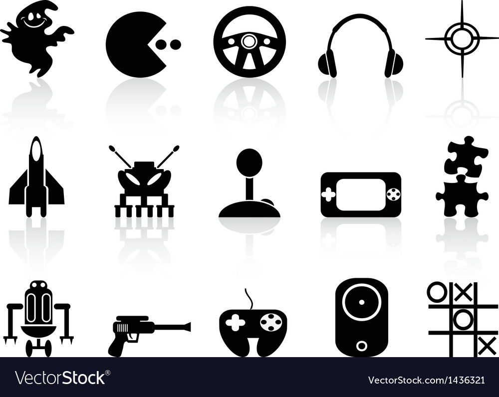 Black computer game icon vector | Price: 1 Credit (USD $1)