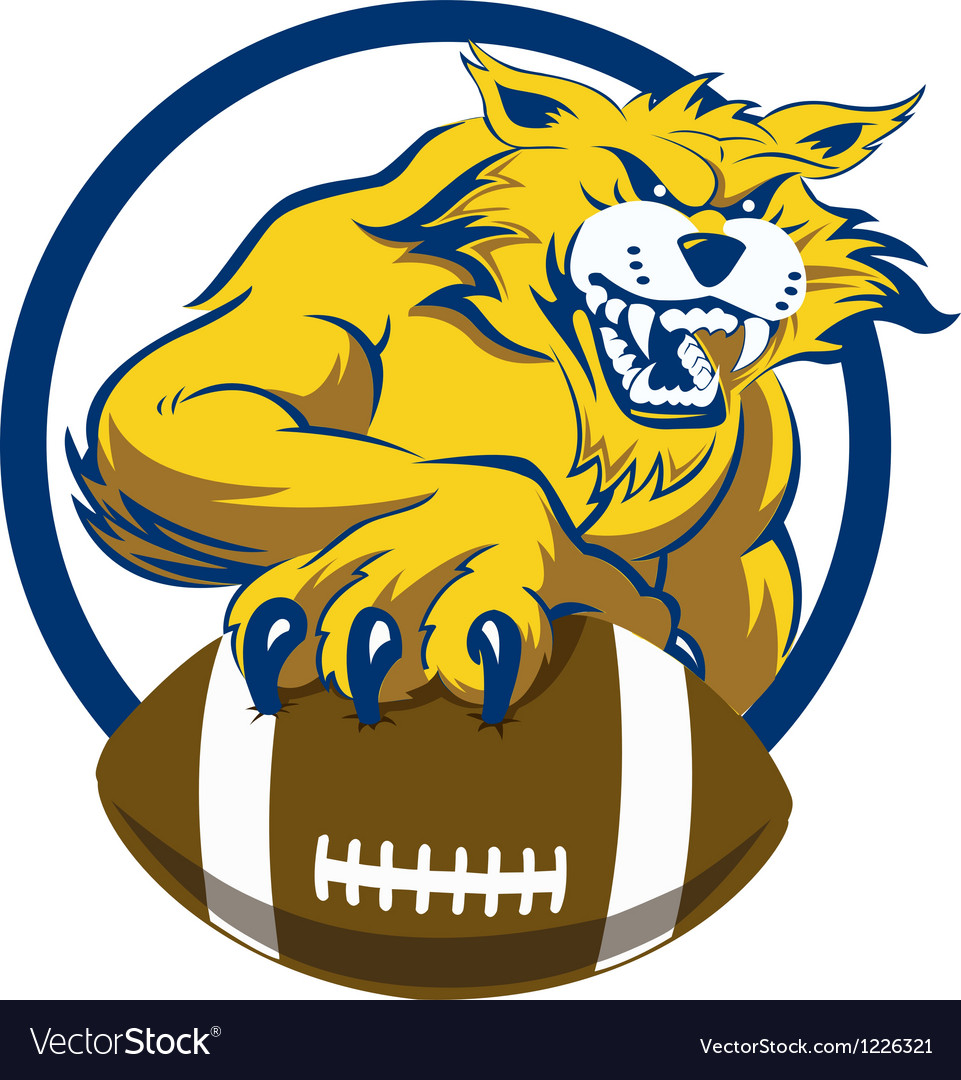 Bobcat with football vector | Price: 3 Credit (USD $3)