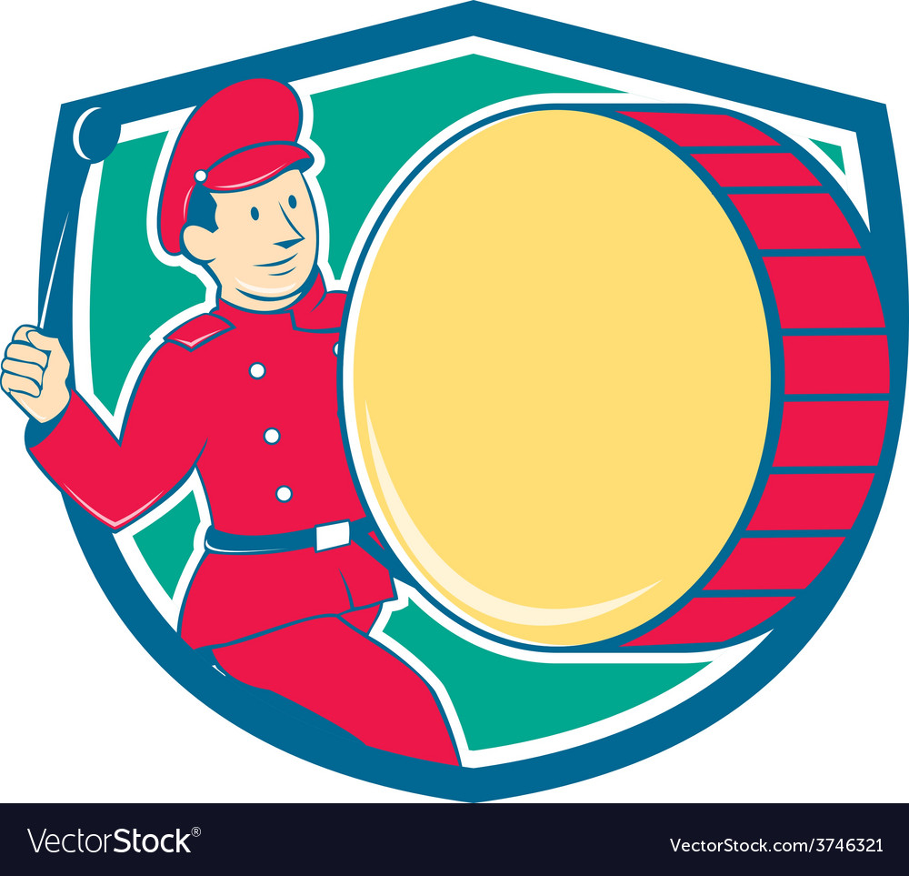 Brass drum drummer marching shield vector | Price: 1 Credit (USD $1)