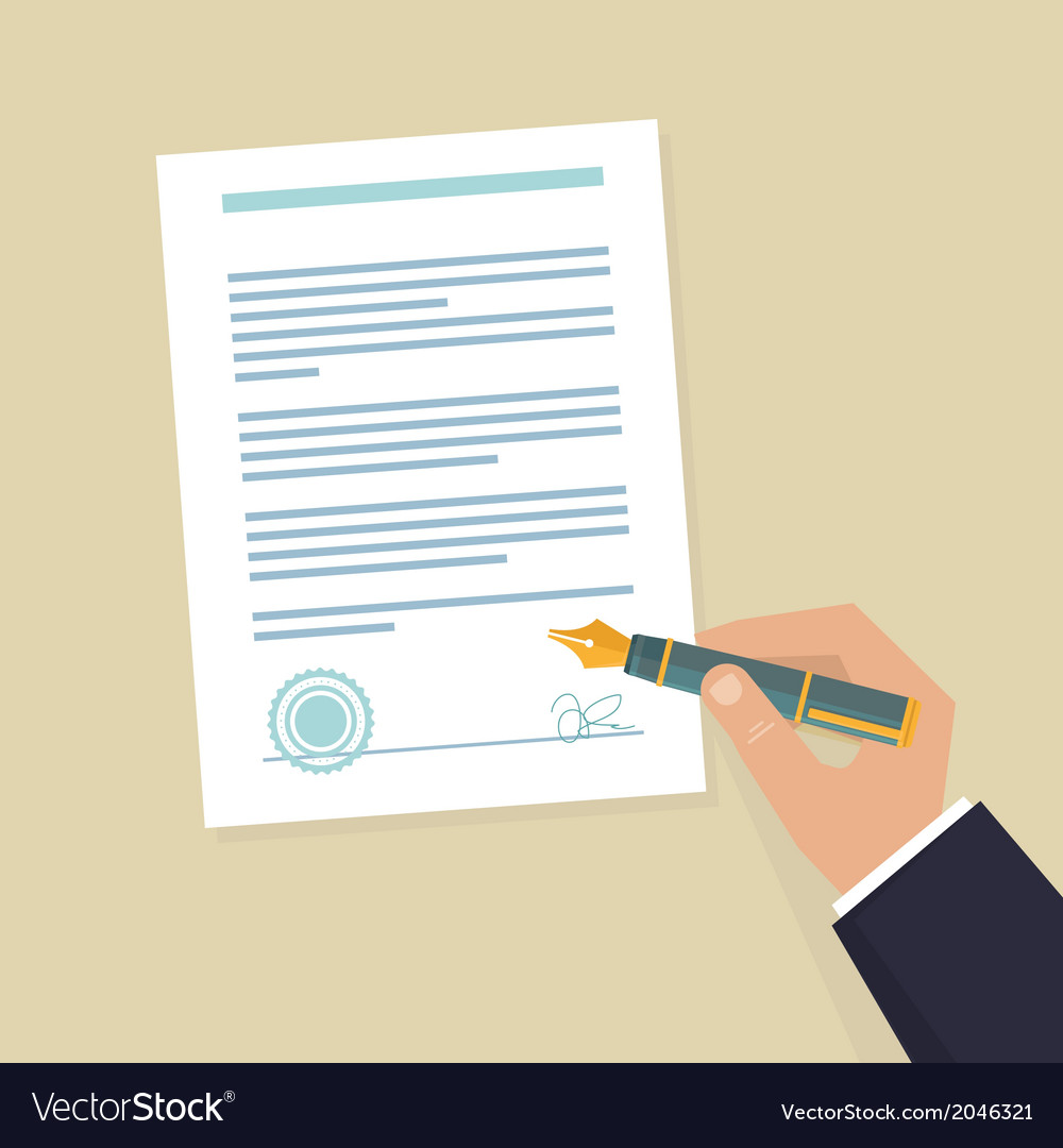 Contract sign hand vector | Price: 1 Credit (USD $1)