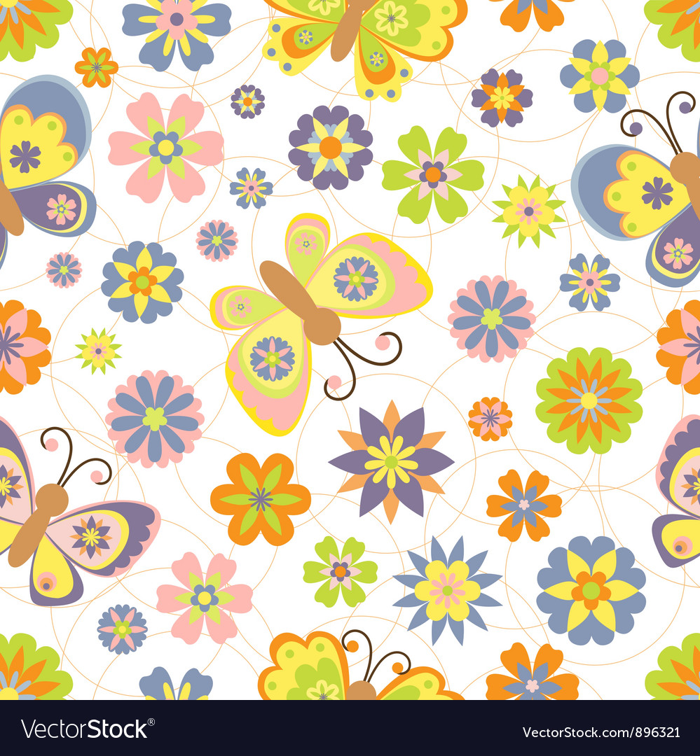 Cute seamless pattern with spring vector | Price: 1 Credit (USD $1)
