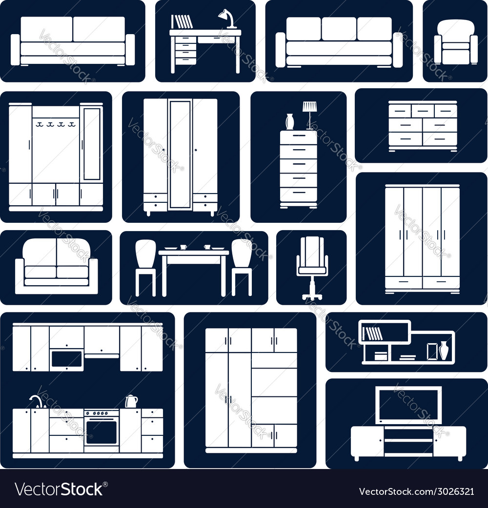 Flat office and home furniture silhouette icons vector | Price: 1 Credit (USD $1)