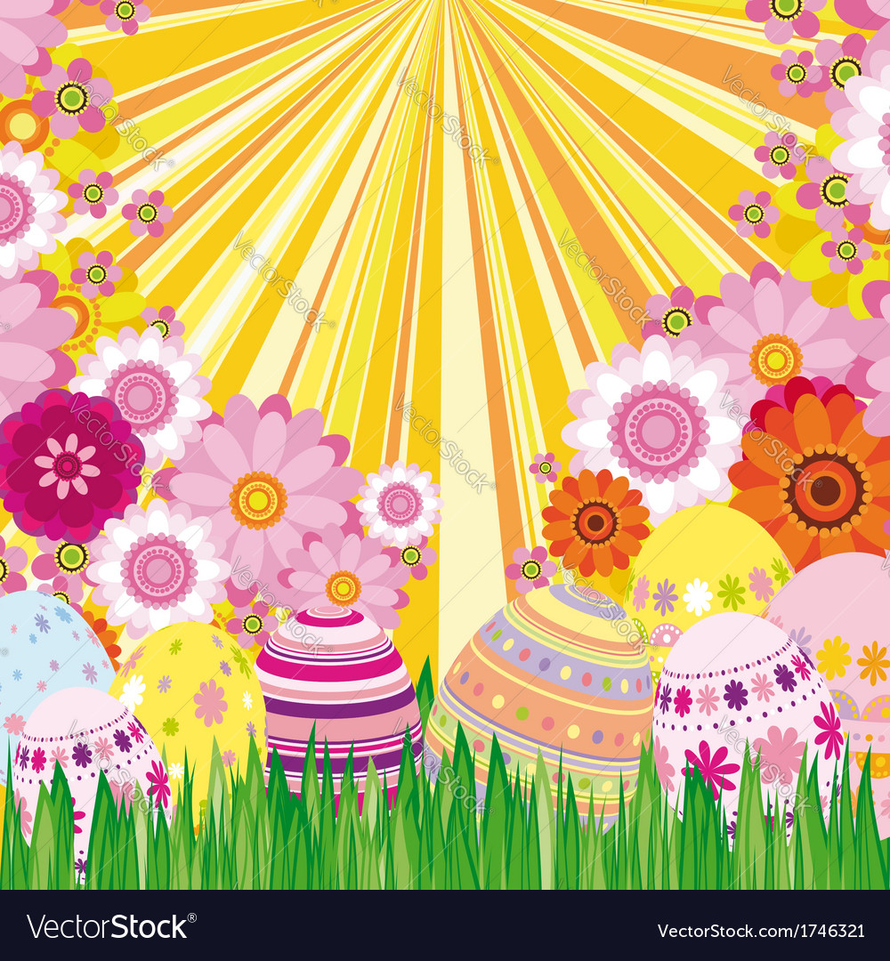 Floral background with easter eggs vector | Price: 1 Credit (USD $1)