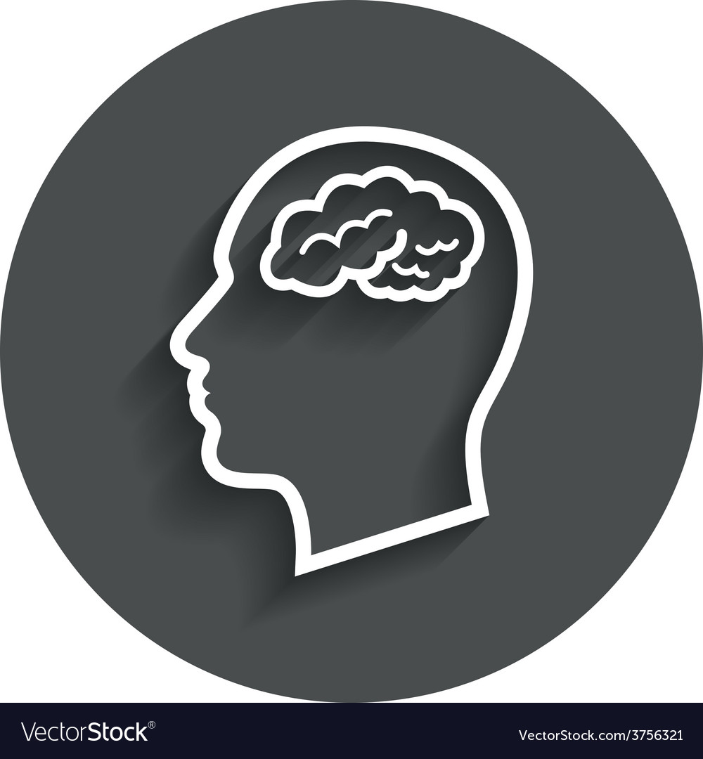Head with brain sign icon male human head vector | Price: 1 Credit (USD $1)