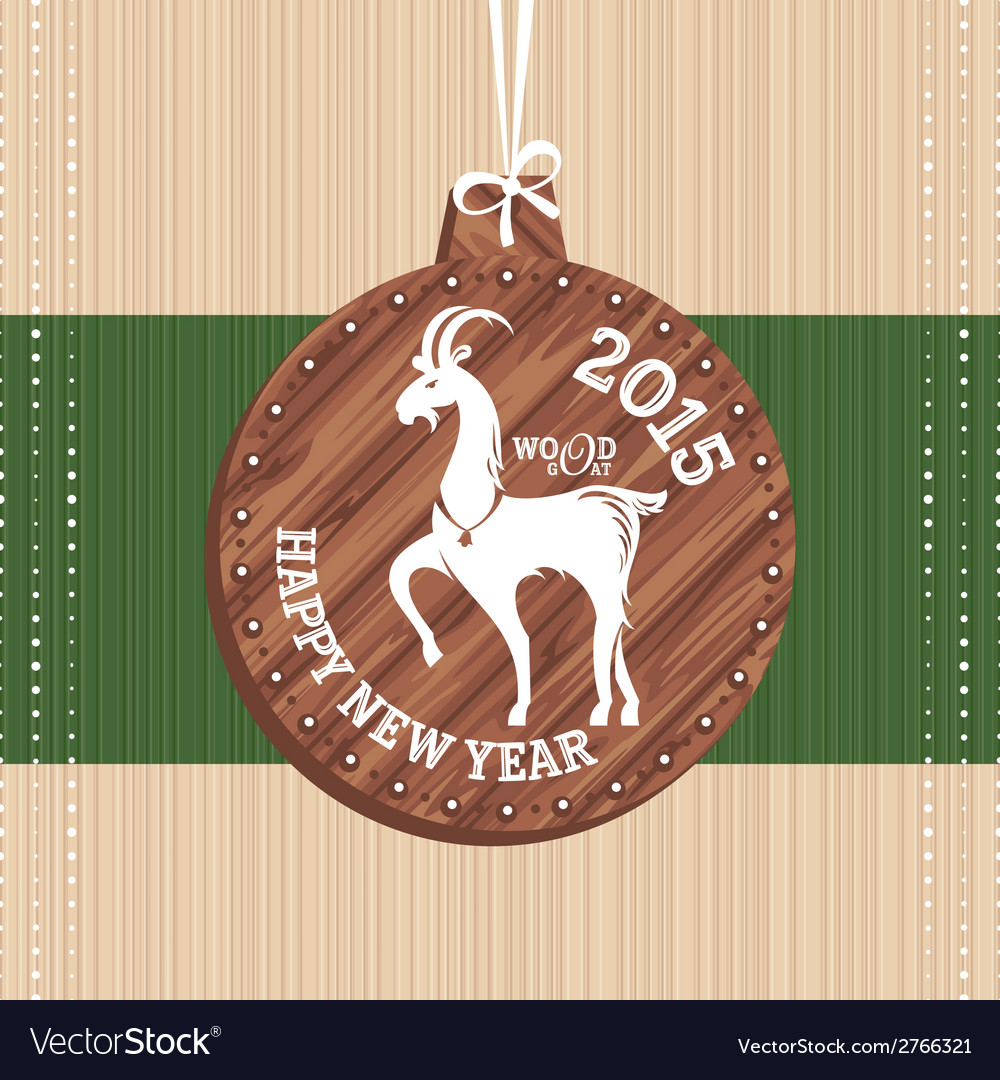 New year greeting card with goat vector   Price: 1 Credit (USD $1)