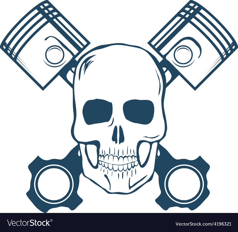 Skull and pistons tshirt graphic vector
