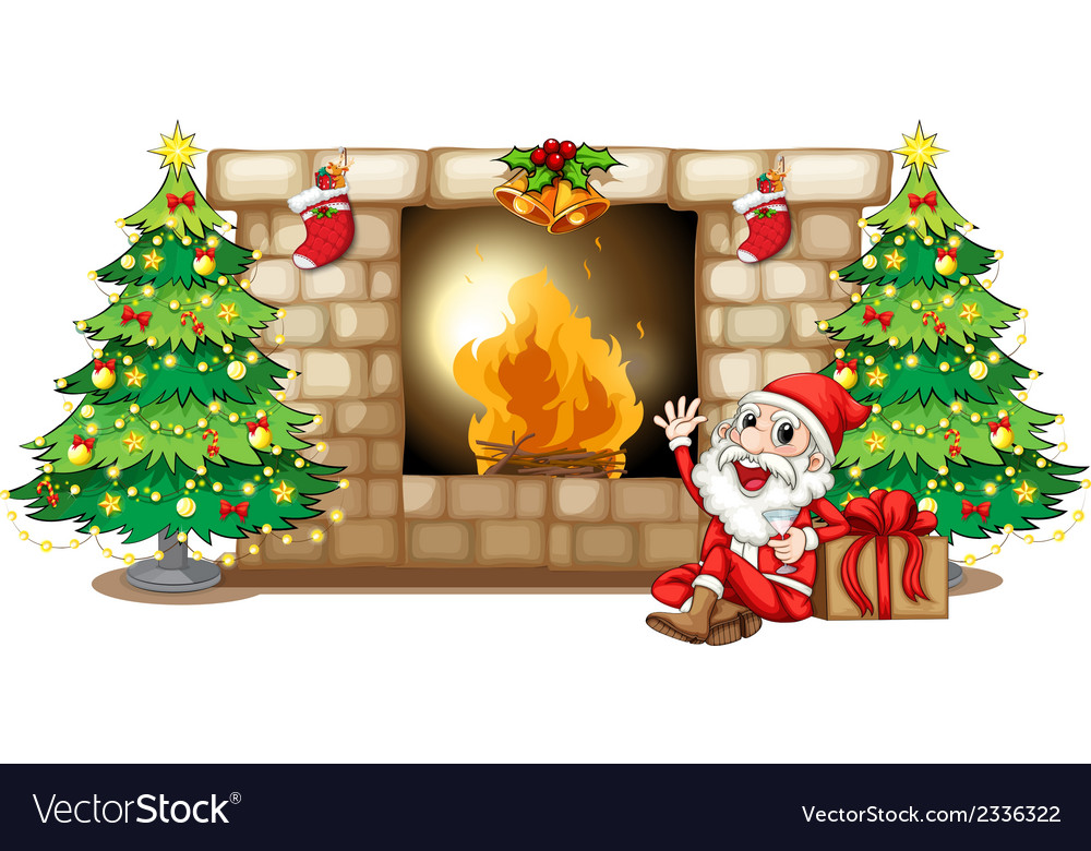 A happy santa near the fireplace vector | Price: 3 Credit (USD $3)