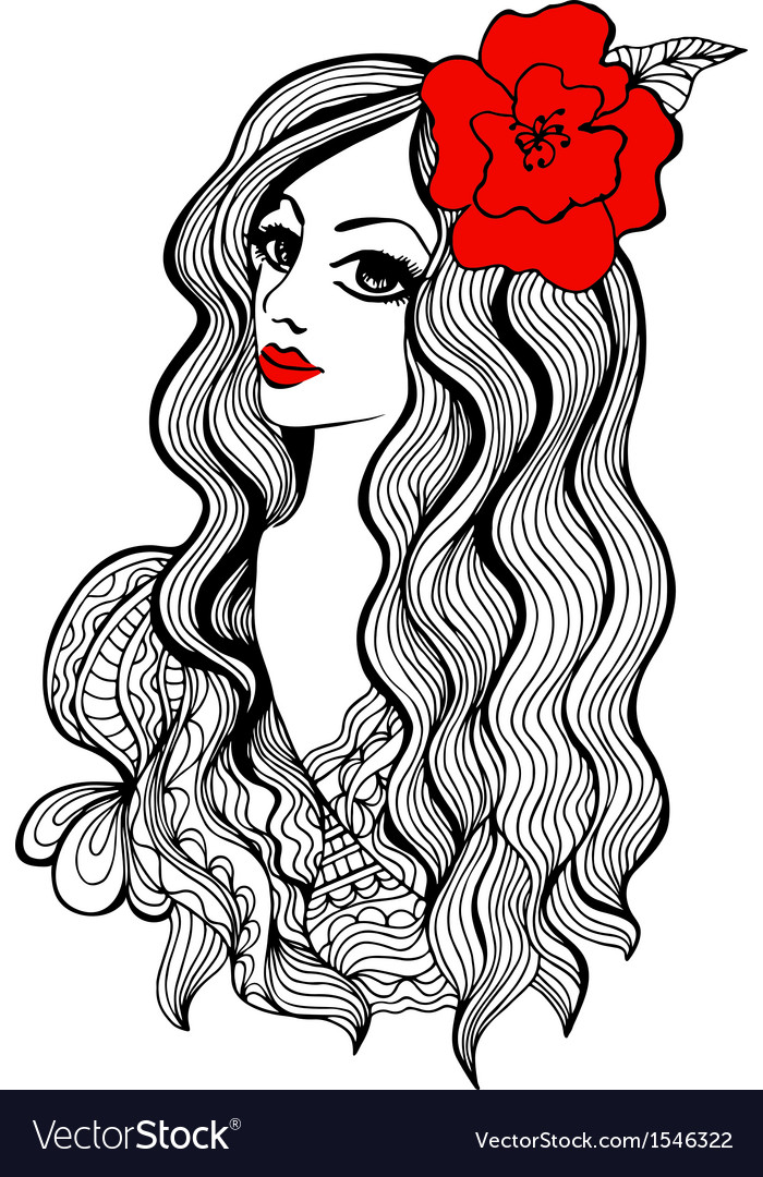 Beautiful girl with red flower in hair vector | Price: 1 Credit (USD $1)