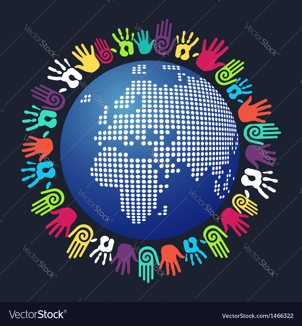 Diversity human hand map vector | Price: 1 Credit (USD $1)