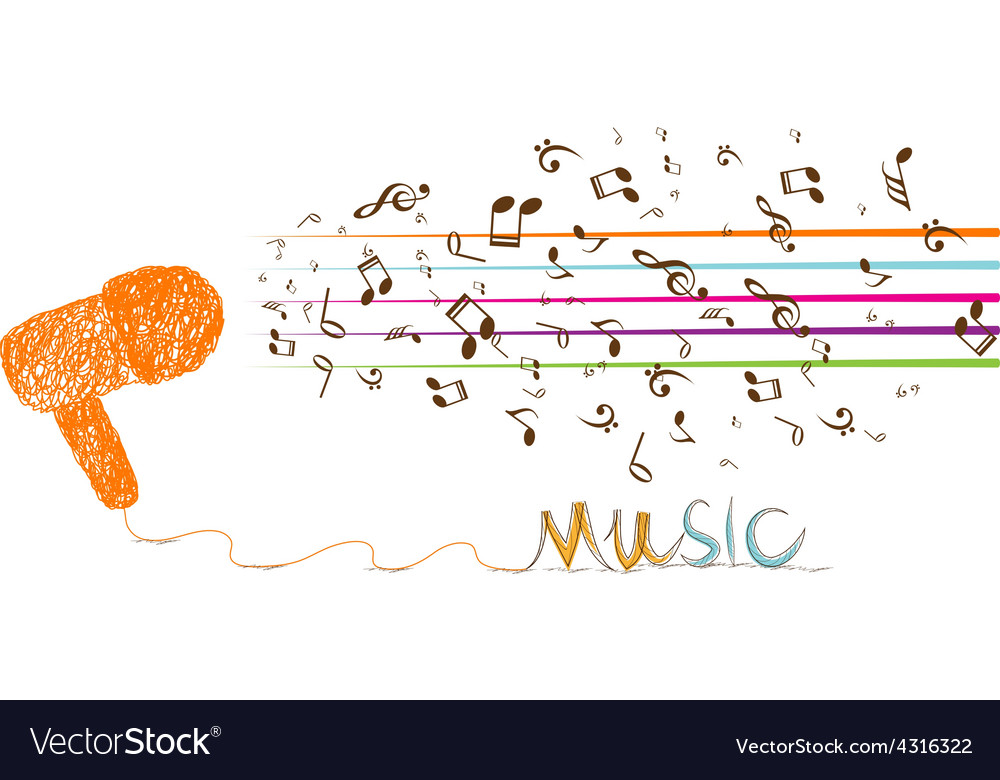 I love music doodle art with note vector | Price: 1 Credit (USD $1)