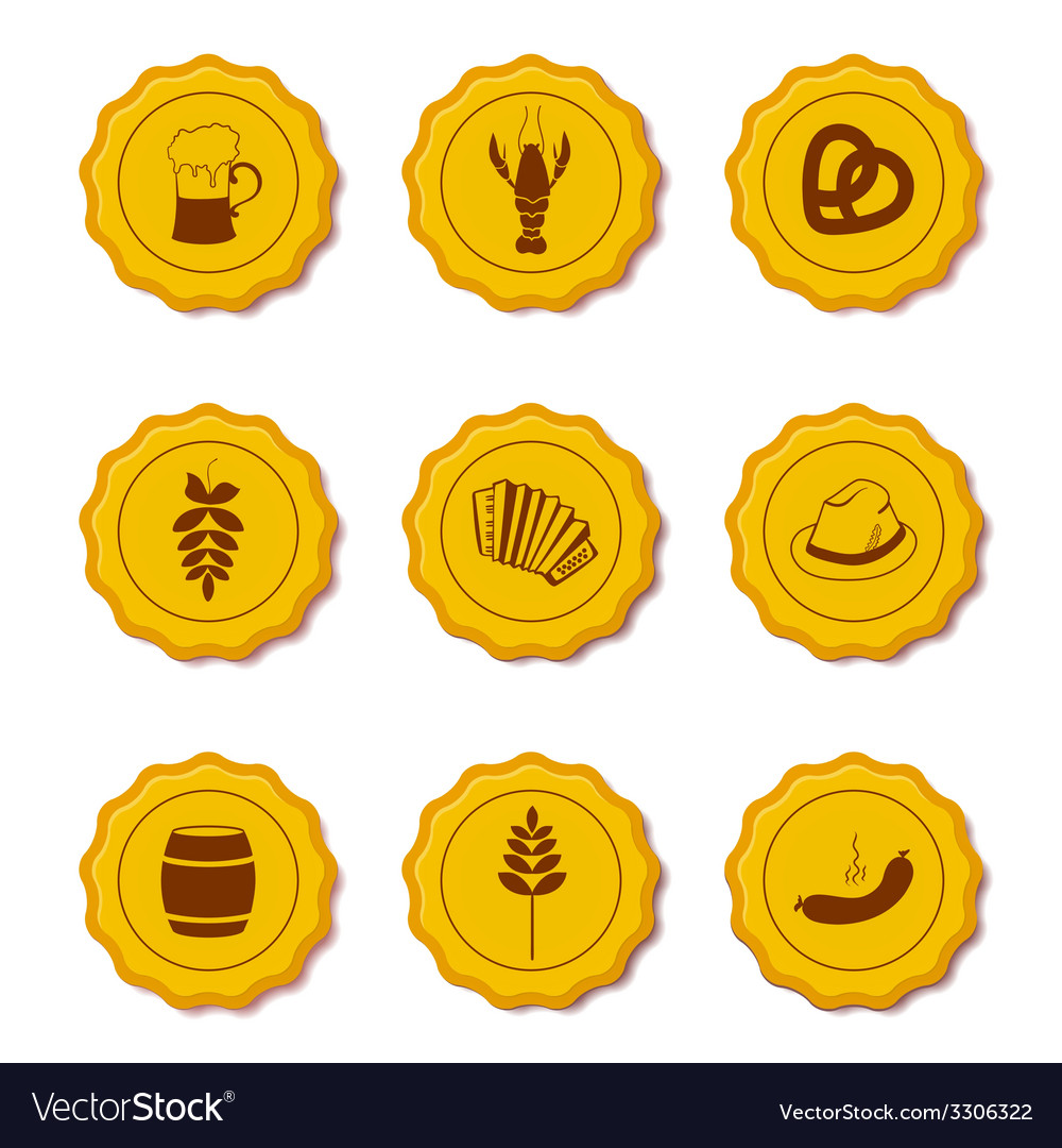 Icons of beer caps vector | Price: 1 Credit (USD $1)