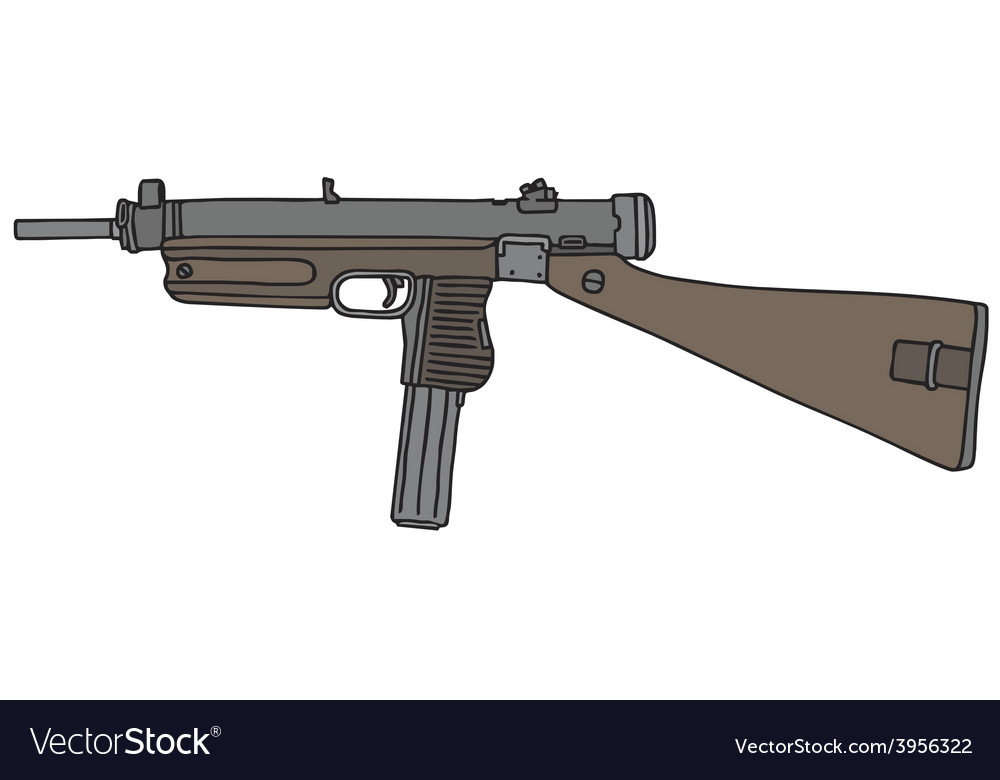Old automatic gun vector | Price: 1 Credit (USD $1)