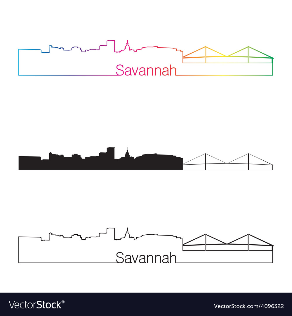 Savannah skyline linear style with rainbow vector | Price: 1 Credit (USD $1)