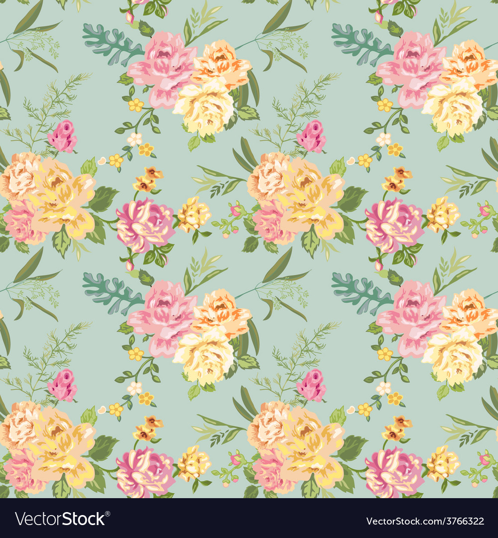 Seamless flower background - shabby roses vector | Price: 1 Credit (USD $1)