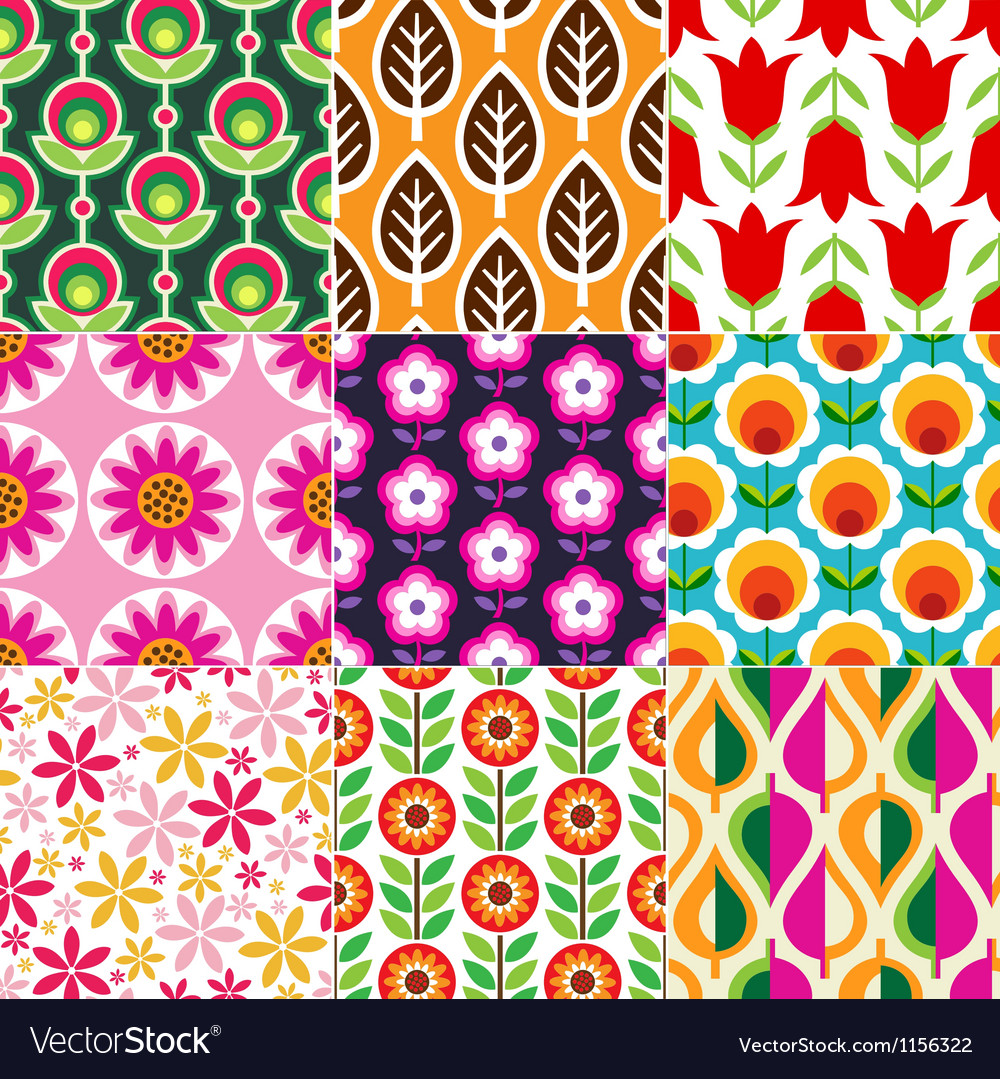 Seamless retro flower pattern vector | Price: 1 Credit (USD $1)
