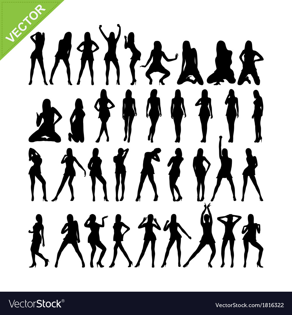 Sexy women and dancing silhouettes set 15 vector | Price: 1 Credit (USD $1)
