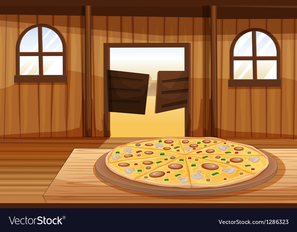 A pizza pie in the table vector | Price: 1 Credit (USD $1)
