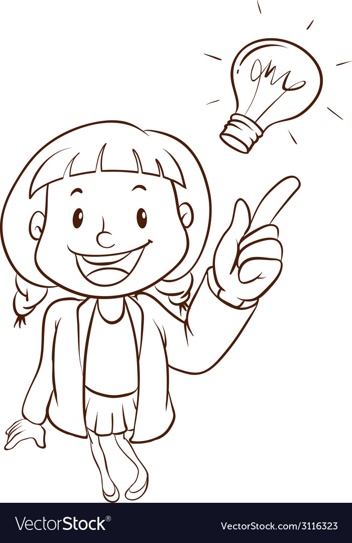 A plain sketch of a smart girl vector | Price: 1 Credit (USD $1)