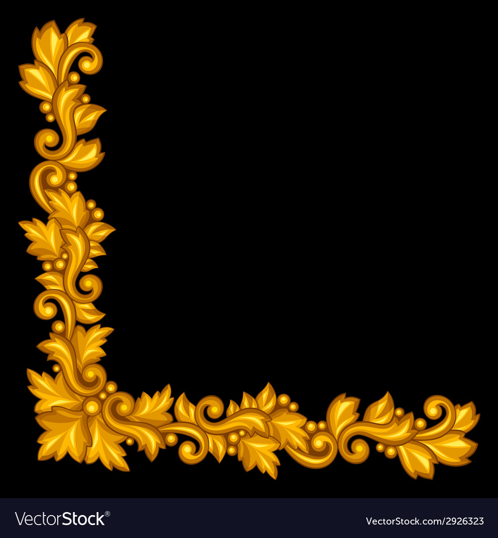 Baroque ornamental antique gold element on black vector | Price: 1 Credit (USD $1)