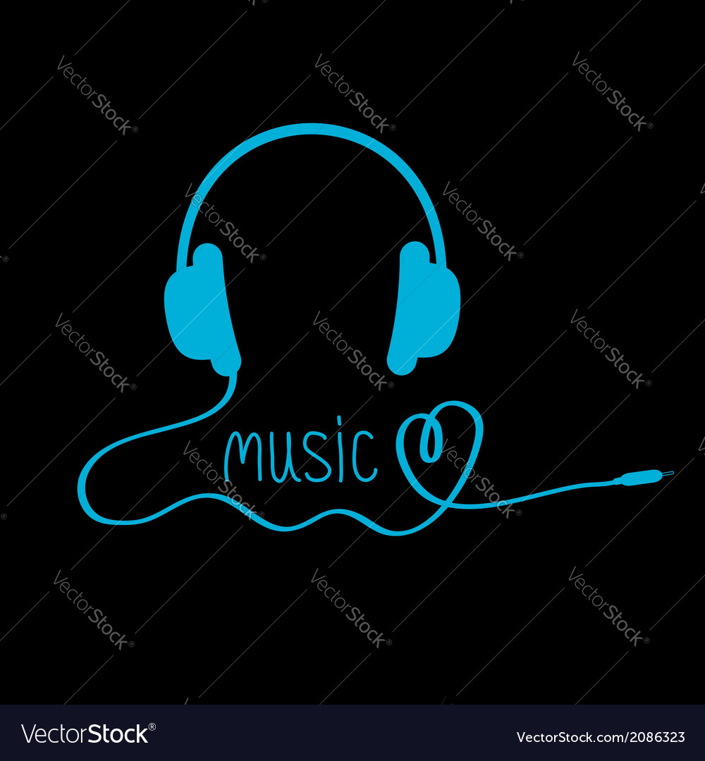 Blue headphones with cord and word music vector | Price: 1 Credit (USD $1)