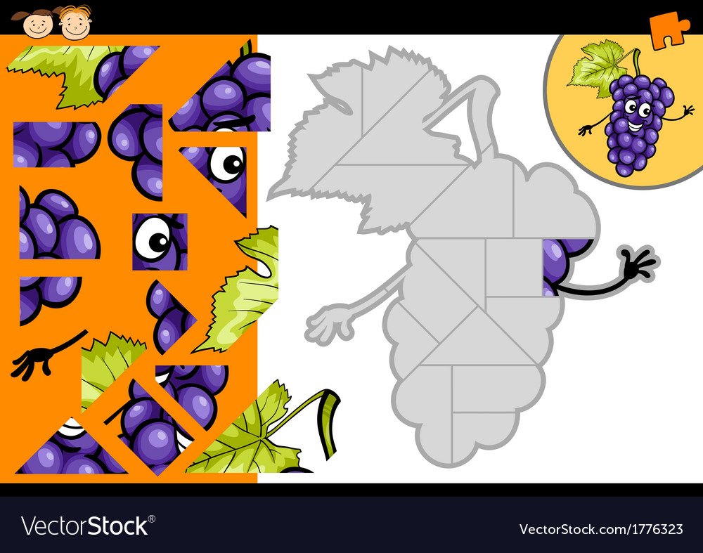 Cartoon grapes jigsaw puzzle game vector | Price: 1 Credit (USD $1)