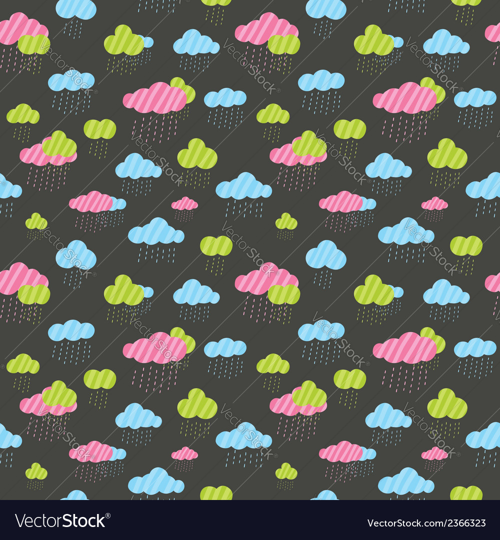 Cute rainy clouds seamless pattern vector | Price: 1 Credit (USD $1)