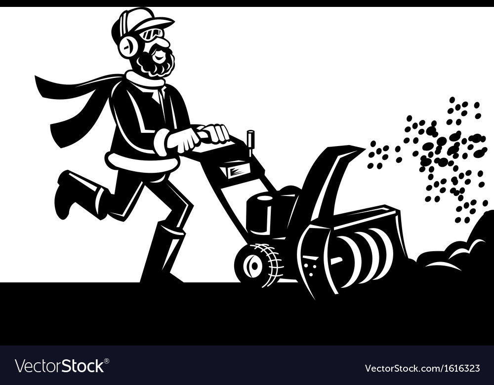 Man operating snow blower or thrower vector | Price: 1 Credit (USD $1)