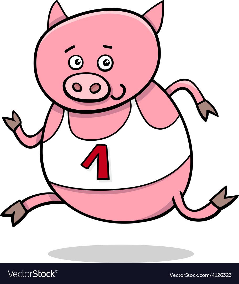 Running piglet cartoon vector | Price: 1 Credit (USD $1)