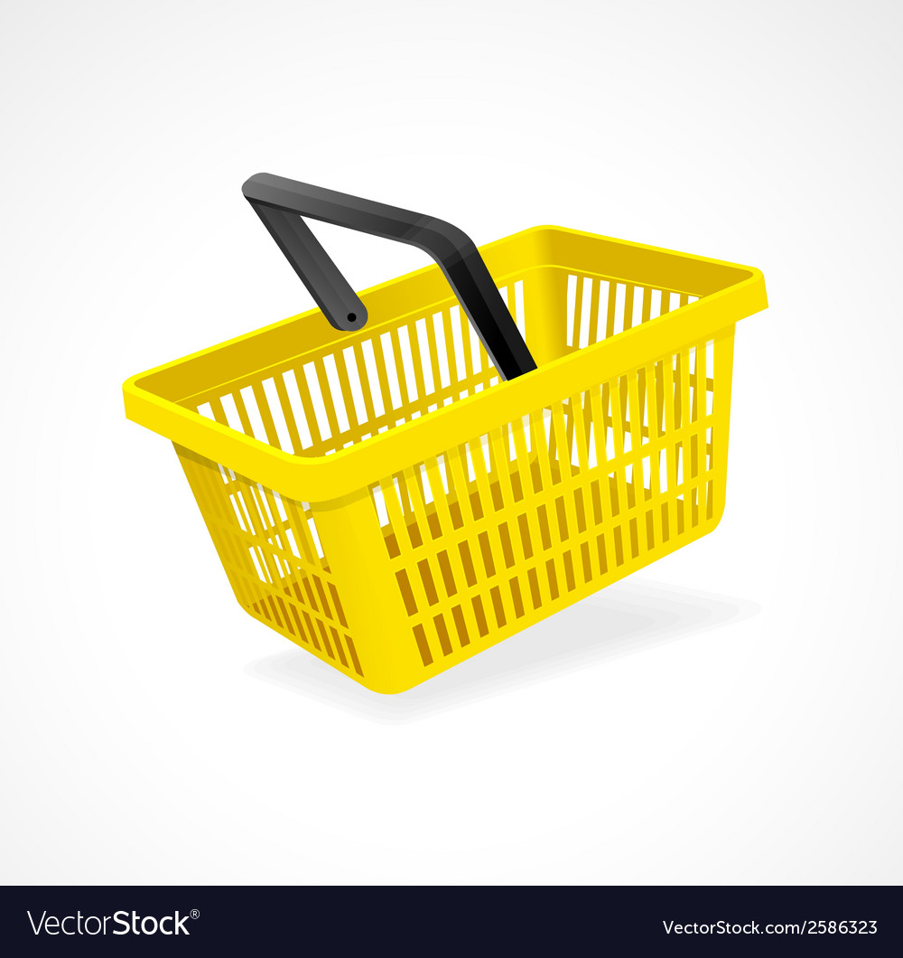 Shopping basket yellow on white vector   Price: 1 Credit (USD $1)