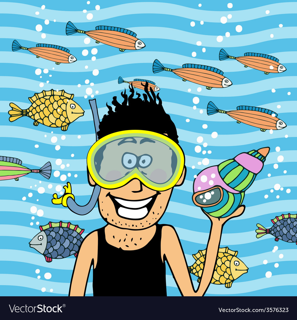 Swimmer wearing snorkel with seashell vector