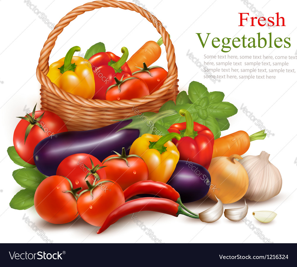 Background with fresh vegetables in basket healthy vector | Price: 3 Credit (USD $3)