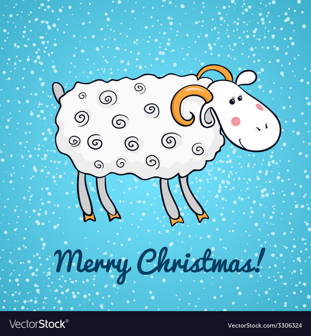 Beautiful cute sheep symbol of the new year vector | Price: 1 Credit (USD $1)