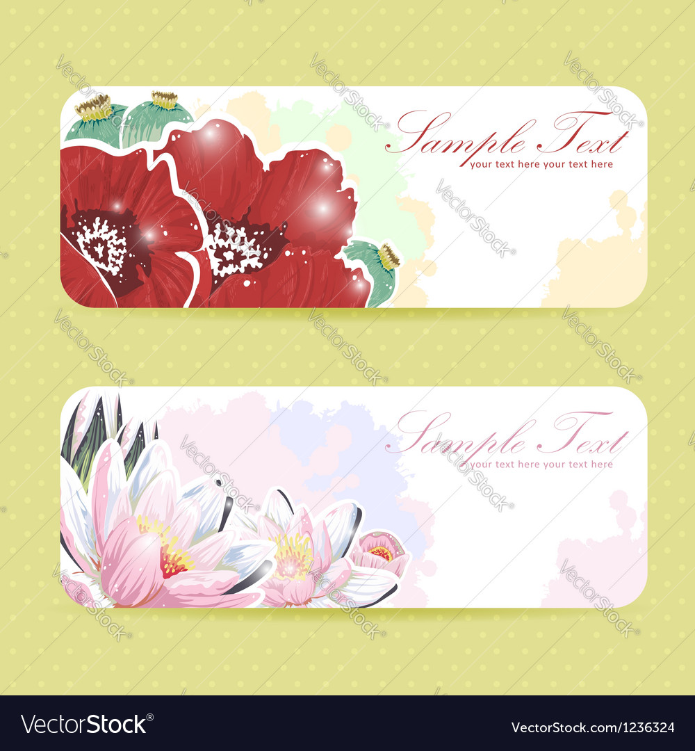 Beautiful flower sticker postcards vector | Price: 3 Credit (USD $3)