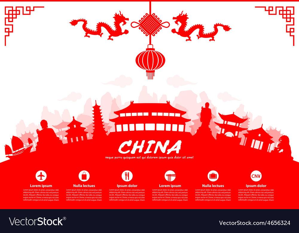 China travel landmarks vector | Price: 1 Credit (USD $1)