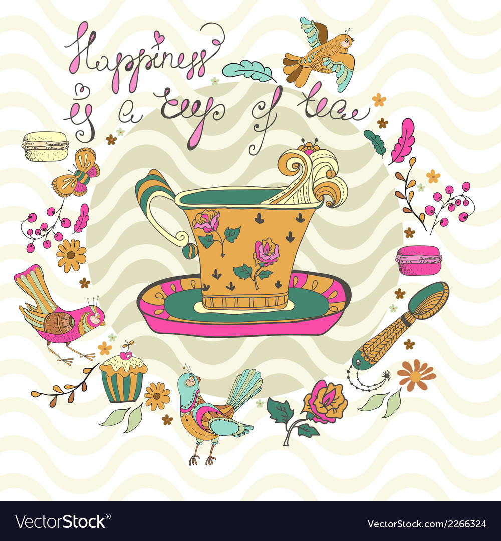 Color tea time background vector | Price: 1 Credit (USD $1)
