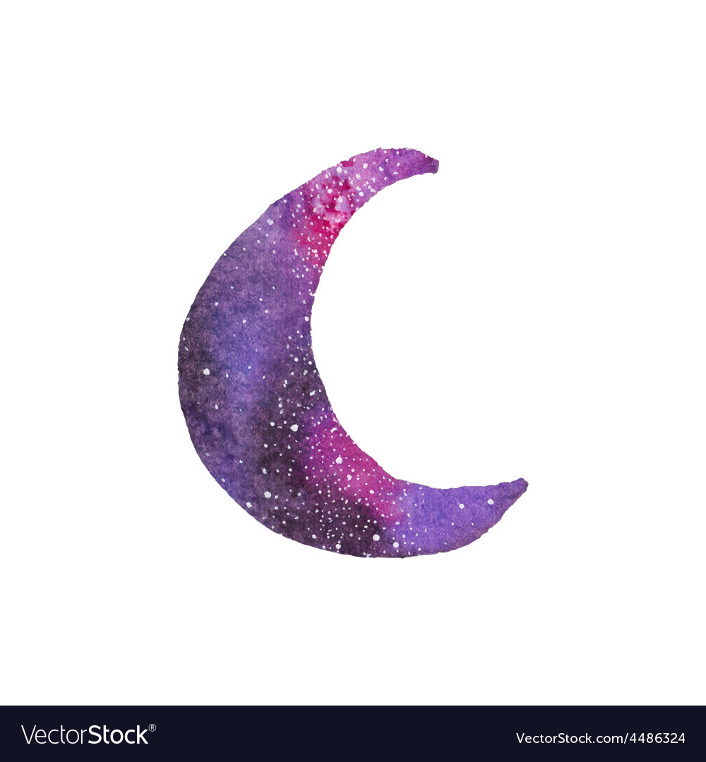 Cosmic crescent watercolor galaxy crescent on the vector | Price: 1 Credit (USD $1)
