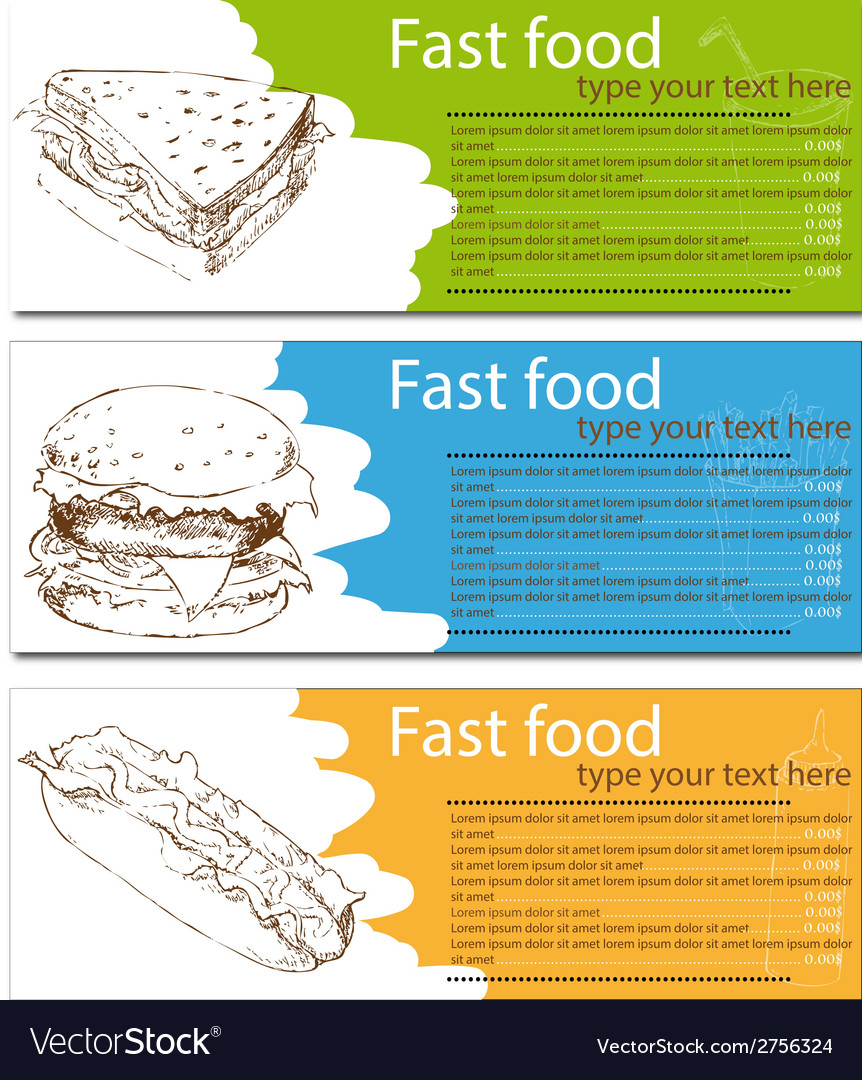 Fast food menu cards with burger hot dog and vector   Price: 1 Credit (USD $1)