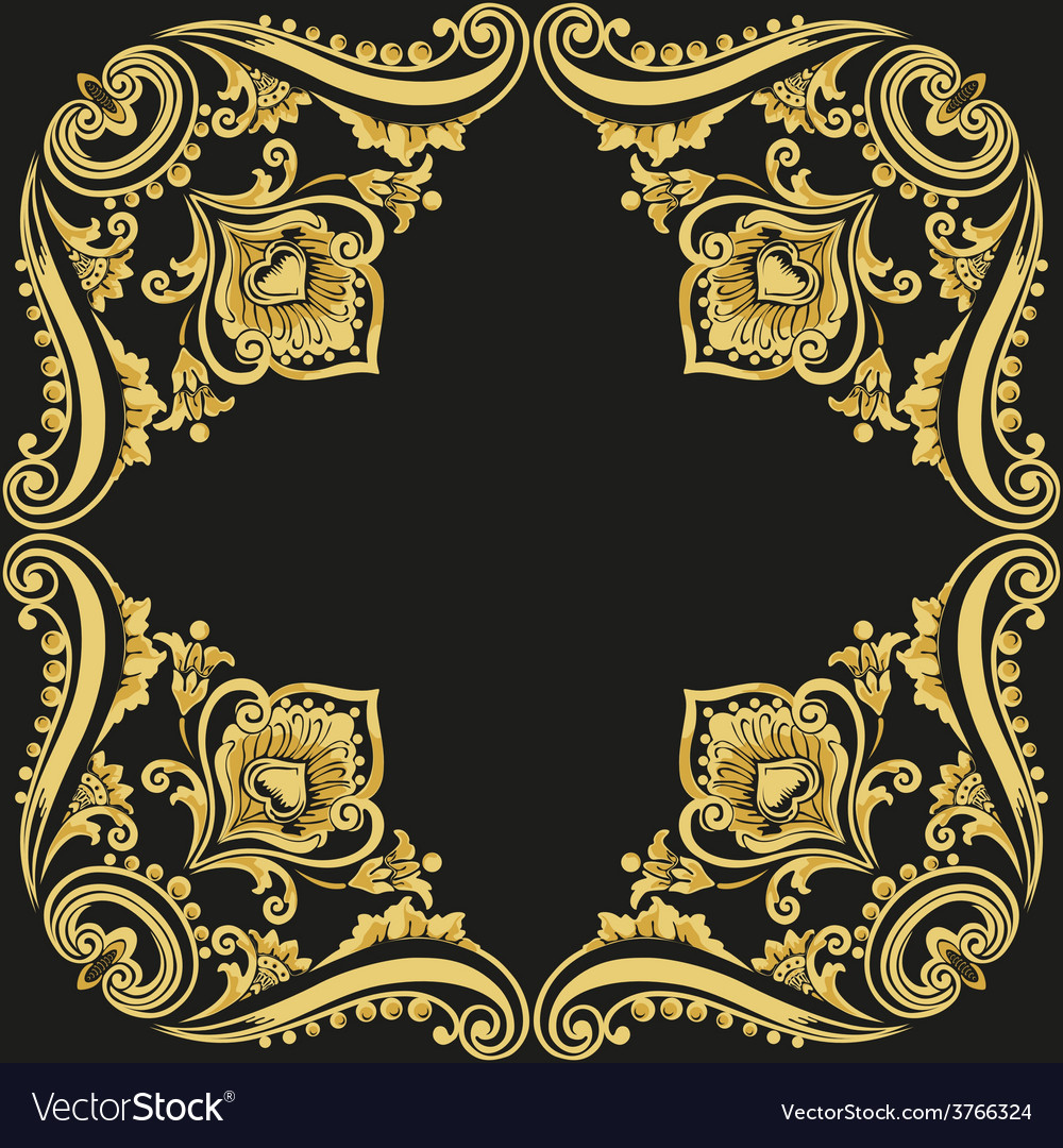 Gold pattern black background vector | Price: 1 Credit (USD $1)