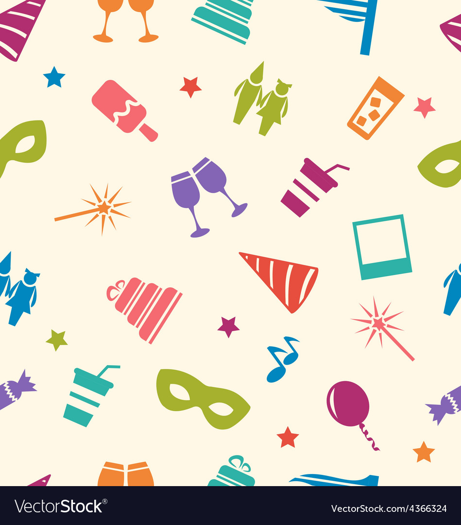 Seamless pattern of party colorful icons wallpaper vector | Price: 1 Credit (USD $1)