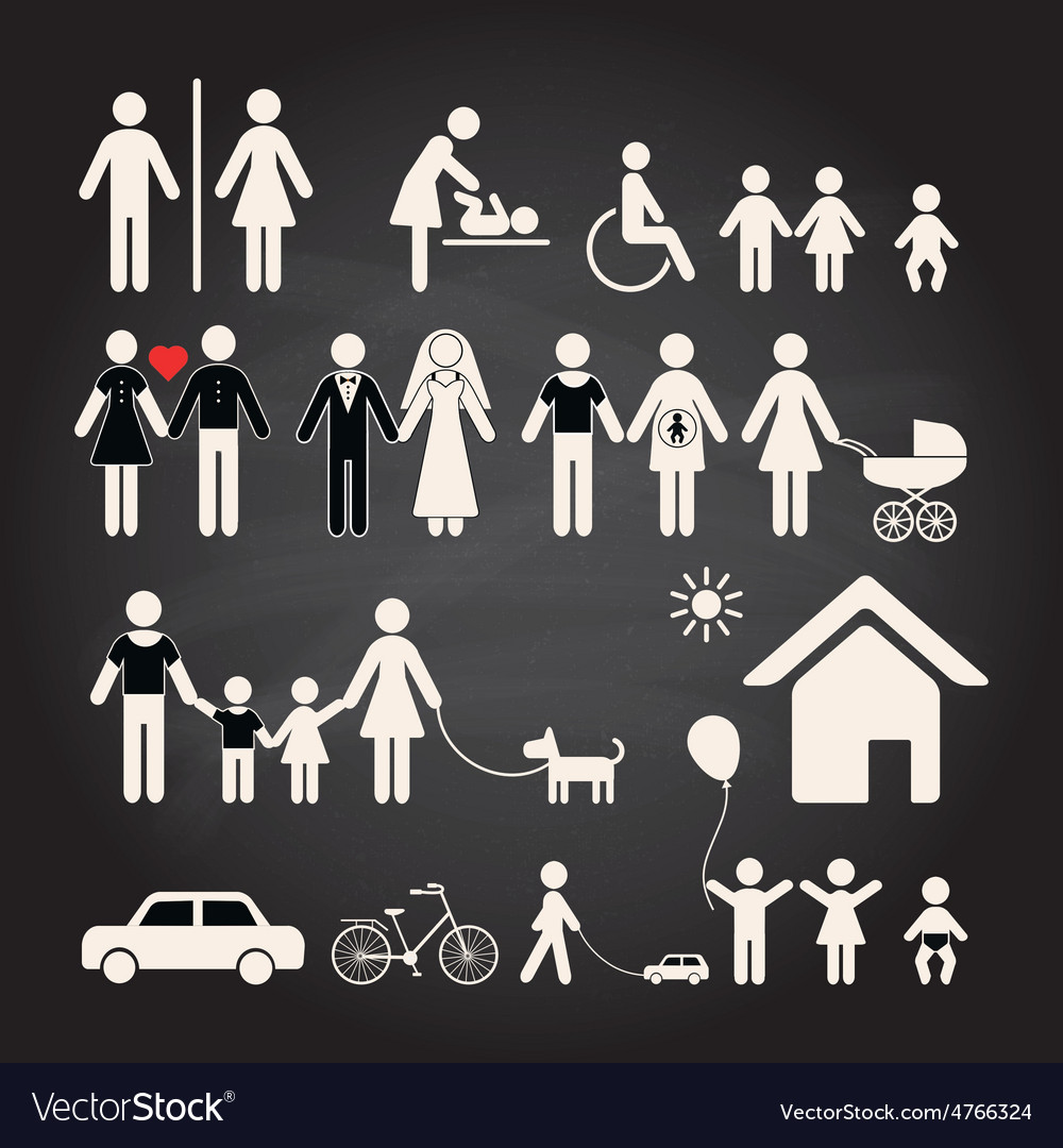 Set of family icons on a chalkboard background vector | Price: 1 Credit (USD $1)