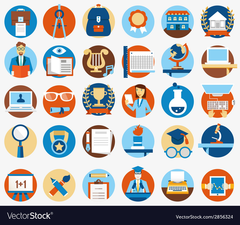 Set of flat education and science icons vector | Price: 1 Credit (USD $1)