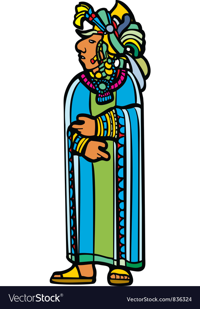 Standing mayan in robe vector | Price: 1 Credit (USD $1)