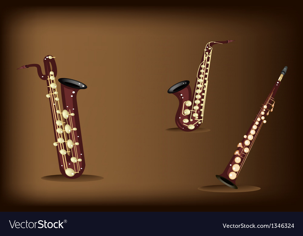 Three retro saxophone on dark brown background vector | Price: 1 Credit (USD $1)